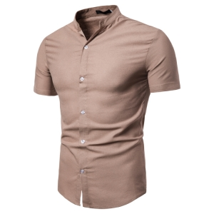 Men's Fashion Solid Color Single-Breasted Casual Short Sleeve Collar Shirt