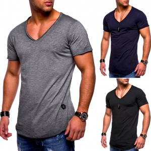 Men's Fashion V-Neck Simple Solid Color Casual Short Sleeve T-Shirt