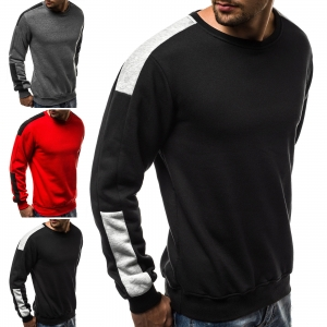 Europe Men's Fashion Simple Color Stitching Long Sleeve Sport Sweater