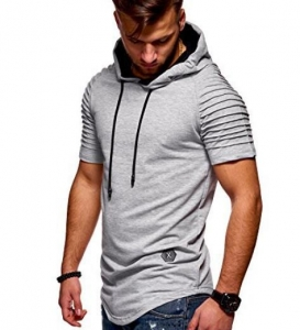 Men's Fashion Solid Color Striped Pattern Short Sleeve Sport Hooded T-Shirt