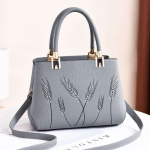 Europe Women's Fashion Wheat Straw Pattern Embroidery Solid Color Shoulder Bag