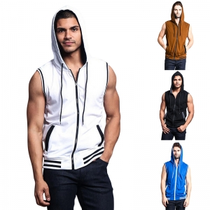 Men's Fashion Solid Color Zipper Design Sleeveless Hooded Vest