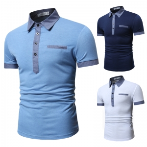 Korean Men's Fashion Fake Pocket Decoration Casual Short Sleeve POLO Shirt