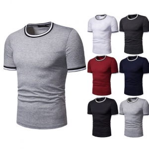 Men's Fashion Round Neck Solid Color High Elastic Short Sleeve T-Shirt