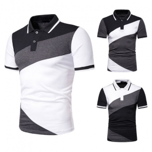 Europe Men's Fashion Stripe Color Stitching Design Short Sleeve POLO T-Shirt