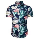 Europe Men's Fashion Lotus Leaves Pattern Print Casual Short Sleeve Shirt