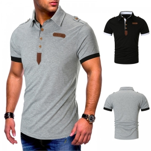 Men's Fashion Solid Color Leather Decoration Button Design Short Sleeve POLO Collar Shirt