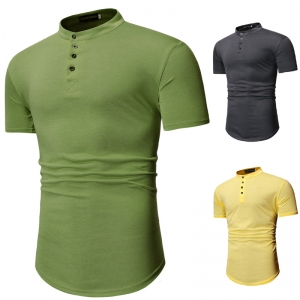 Men's Fashion Solid Color Button Design Casual Short Sleeve T-Shirt
