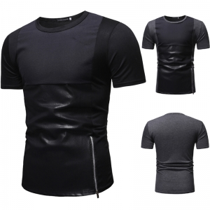 Men's Fashion Leather Stitching Zipper Decoration Casual Short Sleeve T-Shirt