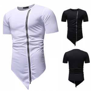 Men's Fashion Zipper Design Simple Solid Color Round Neck Short Sleeve T-Shirt