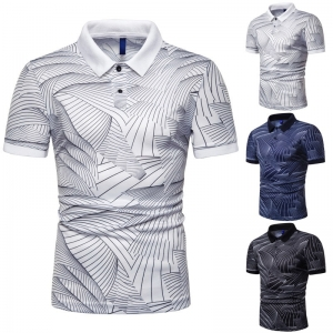 Europe Men's Fashion Creative Line Design Print Elastic Short Sleeve POLO Shirt