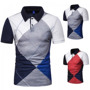 Europe Men's Fashion Quilted Pattern Color Stitching Design Elastic Short Sleeve POLO T-Shirt