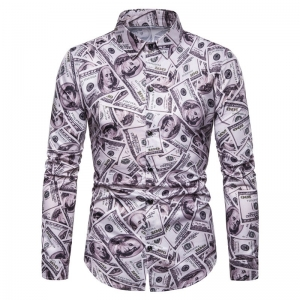 Europe Men's Fashion US Dollar Pattern Print Long Sleeve Formal Shirt