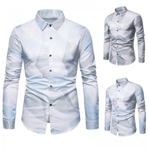 Europe Men's Fashion Color Block Design Print Long Sleeve Formal Shirt
