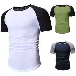 Men's Fashion Simple Color Stitching Design Short Sleeve Round Neck T-Shirt