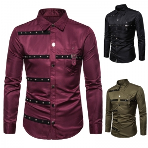 Europe Men's Gothic Style Rivet Decoration Slim Long Sleeve Formal Shirt