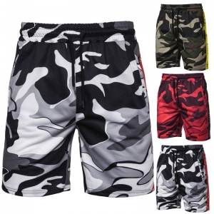 Europe Men's Fashion Camouflage Design Side Color Strip Decoration Short Pants