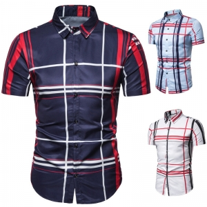 Europe Men's Fashion Color Striped Pattern Print Casual Short Sleeve Collar Shirt