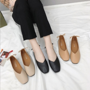 Korean Women's Fashion Square Head Solid Color Shallow Mouth Non-Slip Low Heel Shoes
