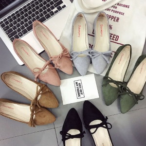 Korean Women's Fashion Bow Decoration Solid Color Pointed Head Flat Peas Shoes