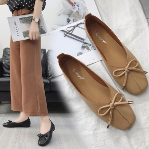 Korean Women's Fashion Square Head Bow Decoration Solid Color Flat Shallow Mouth Shoes