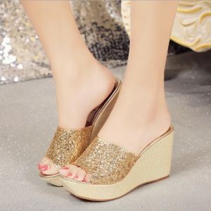 Korean Women's Fashion Sequin Decoration Solid Color Thick Bottom Wedge Sandals