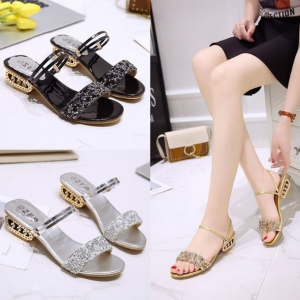Korean Women's Fashion Sequin Design Square Heel Wear-Resistant Sandal