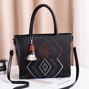 Women's Fashion Ethnic Style Pattern Embroidery Design Colorful Tassel Pendant Shoulder Bag