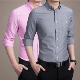 Long-Sleeved Oxford Men Shirt