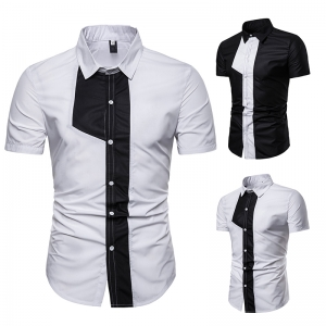 Men's Fashion Bust Black And White Color Stitching Design Short Sleeve Collar Shirt