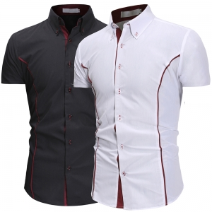 Europe Men's Fashion Personality Edging Design Solid Color Casual Short Sleeve Shirt