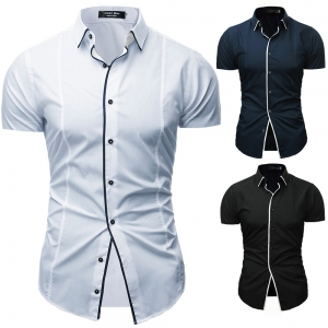 Men's Fashion Solid Color Inlay Decoration Casual Short Sleeve Collar Shirt