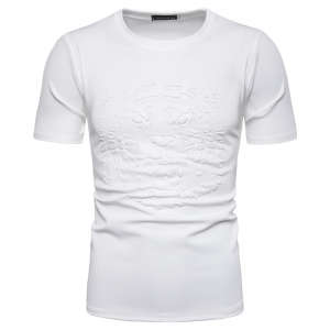 Men's Fashion Tiger Head Stereo 3D Printing Short Sleeve Solid Color T-Shirt