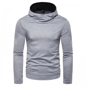 Men's Fashion Simple Solid Color Long Sleeve Hooded Sweater