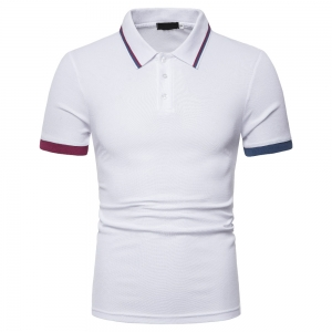 Europe Men's Fashion  Left And Right Shoulders Color Matching Short Sleeve POLO Collar Shirt