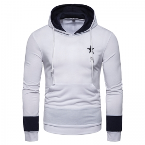 Men's Fashion Star Shape Print Color Stitching Deign Hooded Sweater