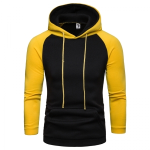 Men's Fashion British Style Color Stitching Design Hooded Sweater