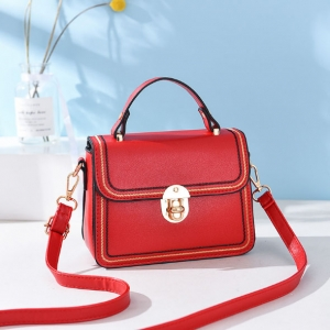 Korean Women's Fashion Metal Rotary Lock Design Embroidery Pattern Decoration Solid Color Shoulder Bag