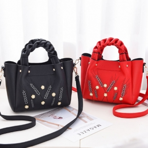 Europe Women's Fashion Metal Pearl Decoration Wheat Straw Embroidery Braided Handle Shoulder Bag