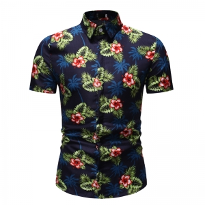 Men's Fashion Color Pencil Style Flower Leaves Pattern Design Casual Short Sleeve Collar Shirt