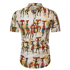 Europe Men's Fashion Ethic Style People Pattern Print Casual Short Sleeve Collar Shirt