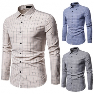 Men's Fashion Plaid Pattern Print Simple Solid Color Casual Long Sleeve Collar Business Shirt