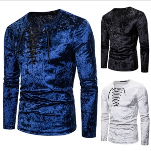 Europe Men's Fashion Diamond Velvet Loose Laces Solid Color Long Sleeve T-Shirt