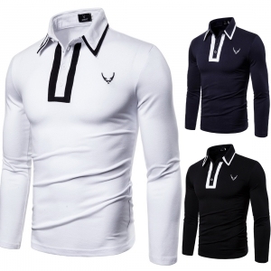 Europe Men's Fashion Pattern Design Embroidery Casual Solid Color Long Sleeve Lapel Collar POLO T-Shirt