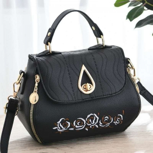 Korean Women's Fashion Flower Embroidery Metal Water Drop Rotary Lock Design Solid Color Shoulder Bag