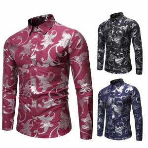 Men's Fashion Trendy Pattern Hot Stamping Casual Solid Color Long Sleeve Lapel Collar Shirt