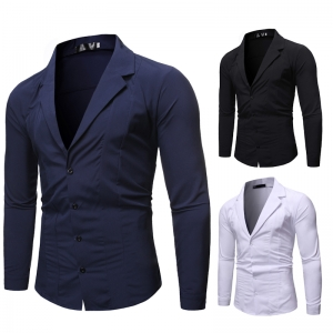 Men's Fashion Solid Color Casual Suit Collar Long Sleeve Shirt