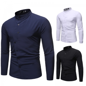 Men's Fashion Simple Solid Color Single-Breasted Casual Lapel Collar Long Sleeve Shirt