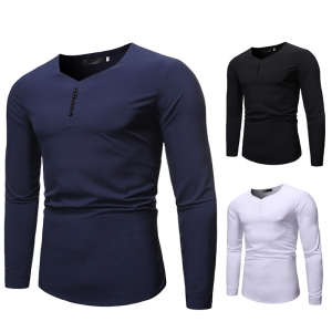Men's Fashion V-Neck Casual Solid Color Long Sleeve Shirt