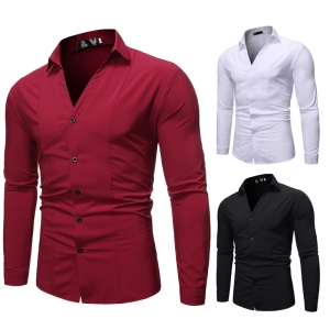 Men's Fashion Single-Breasted Casual Solid Color Lapel Collar Long Sleeve Shirt